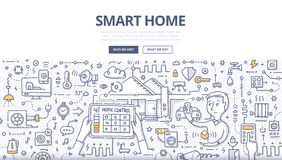 Smart Home Doodle Concept. Doodle  illustration of using modern technologies into house infrastructure, home remote control & automation. Smart home concept for Stock Image
