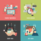 Smart home 4 flat icons square Royalty Free Stock Images