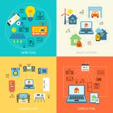 Smart home flat set. Smart home detectors controlling connecting systems icons flat set isolated vector illustration Stock Image