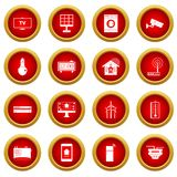 Smart home house icon red circle set. Isolated on white background Stock Photography