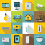 Smart home house icons set, flat style Stock Photography