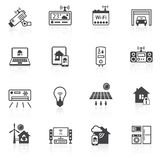 Smart home icons black Royalty Free Stock Photos