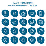Smart home icons on blue splatter paint. Flat icons  Stock Image