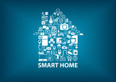 Smart Home  illustration with home assembled with white icons / symbols. Blurred dark blue background Royalty Free Stock Photos