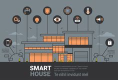 Smart Home Infographics Banner Modern House Wireless Control Technology System  Stock Photo