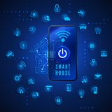 Smart home or IOT concept. Remote monitoring and control smart house from smartphone. House circuit and smart home function icons royalty free illustration