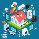 Smart home iot isometric concept banner royalty free illustration