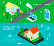 Smart Home Isometric Banners Set Royalty Free Stock Images