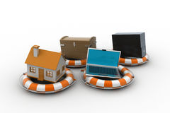 Smart home with life preserver Stock Photos