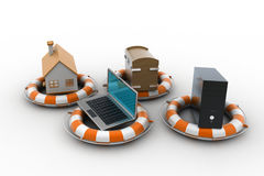 Smart home with life preserver. In white color background Stock Photography