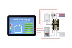 Smart home management. Underfloor heating, ventilation, boiler, hot water, radiator heating. Smart home management. Control panel vector illustration Royalty Free Stock Images