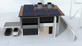 Smart home powered by solar panels and wind turbine. Electric vehicle recharging in garage