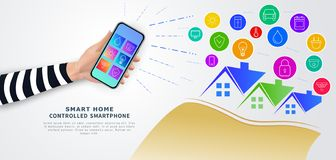 Smart home remote control with mobile phone. Hand holding smartphone with mobile app with icons on screen. stock illustration