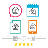 Smart home sign icon. Smart house button. Remote control. Calendar, chat speech bubble and report linear icons. Star vote ranking. Vector Royalty Free Stock Photos