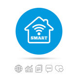 Smart home sign icon. Smart house button. Remote control. Copy files, chat speech bubble and chart web icons. Vector Royalty Free Stock Photography