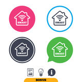 Smart home sign icon. Smart house button. Remote control. Report document, information sign and light bulb icons. Vector Stock Photography