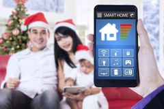 Smart home system and asian family Stock Photo