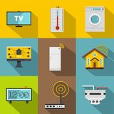 Smart home system icon set, flat style vector illustration