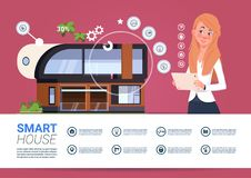 Smart Home Technology Banner With Womam Holding Digital Tablet Device With Control System. Flat Vector Illustration Stock Images