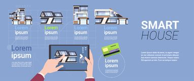 Smart Home Technology Concept With Hands Holding Tablet Device Controlling And Administration System. Flat Vector Illustration Royalty Free Stock Photography