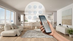 Smart home technology interface on phone app, augmented reality, internet of things, interior design of modern kitchen with