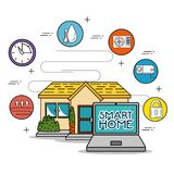 Smart home tecnology system. Vector illustration graphic design Royalty Free Stock Photography