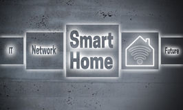 Smart Home touchscreen concept background stock photography