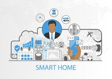 Smart home vector background with icon of business man and connected household appliances royalty free illustration