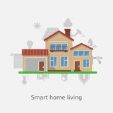 Smart home vector concept. Flat design style vector illustration concept of smart home technology system. House illustration and icons set. Infographic concept royalty free illustration