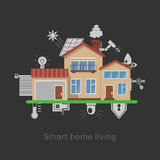 Smart home vector concept. Flat design style vector illustration concept of smart home technology system. House illustration and icons set. Infographic concept stock illustration