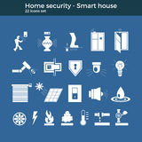 Smart home vector icons. Smart home automation vector icons set. House security items included. Flat design for modern infographic or logo concept. Dark Stock Photo