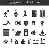 Smart home vector icons. Smart home automation vector icons set. House security items included. Flat design for modern infographic or logo concept. White stock illustration