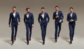 Smart, homme d'affaires bel sur un fond vide - collage Images stock