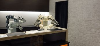 Smart hotel in hospitality industry 4.0 concept, the receptionist robot robot assistant in lobby of hotel or airports always w. Elcome customer the service is royalty free stock images