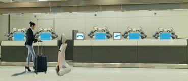 Smart hotell i gästfrihetbransch 4 0 begrepp, assistenten för receptionistrobotrobot i lobby av hotellet eller flygplatser alltid arkivbilder