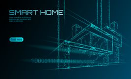 Smart house binary code low poly concept. Online control information analysis. Internet of things technology home stock illustration