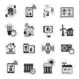 Smart house black icons set Stock Photos