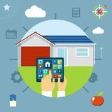 Smart house concept controlled from a tablet Stock Photo