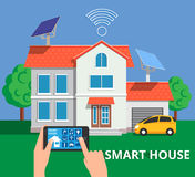 Smart house concept in flat stile. Remote home control system on stock illustration