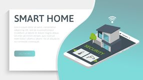 Smart house concept. Isometric image with modern home and smart phone. 3d vector illustration. Smart house concept. Isometric image with modern home and smart vector illustration
