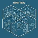 Smart house concept vector 3d isometric blueprint illustration Royalty Free Stock Photos