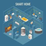 Smart house concept vector flat 3d isometric illustration Royalty Free Stock Images