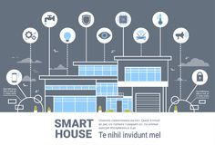 Smart House Control System Interface Infographics Modern Home Technology Icons Banner Royalty Free Stock Image