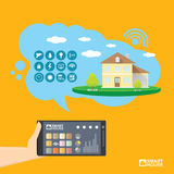 Smart house control vector concept illustration. Stock Images