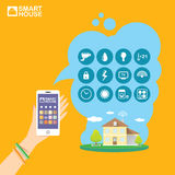 Smart house control vector concept illustration. Stock Image