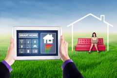 Smart house controller applications on tablet Stock Images