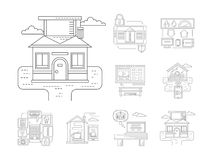 Smart house detailed flat line icons Royalty Free Stock Image