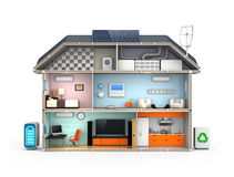 Smart house with energy efficient appliances. Solar panel, home energy management system Stock Photo