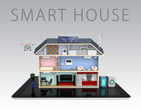 Smart house with energy efficient appliances With text Royalty Free Stock Photo
