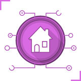 Smart house flat design long shadow icon Royalty Free Stock Images